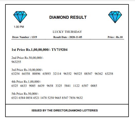 Check Diamond Lottery Result 1:00 PM