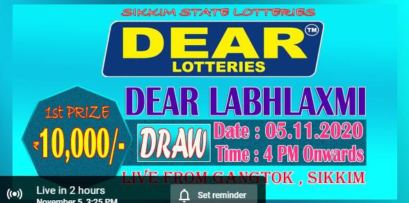 Dear LabhLaxmi Lottery Result 5.11.2020