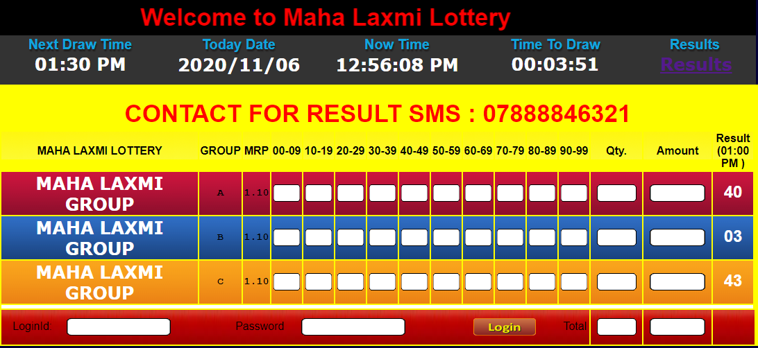 Mahalaxmi Lottery Result today live 06/11/2020 from 9 AM to 1 PM