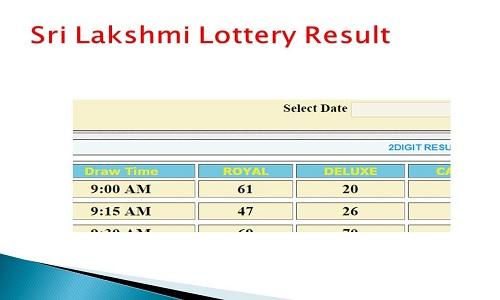 Sri lakshmi lottery results today 03:30 Pm