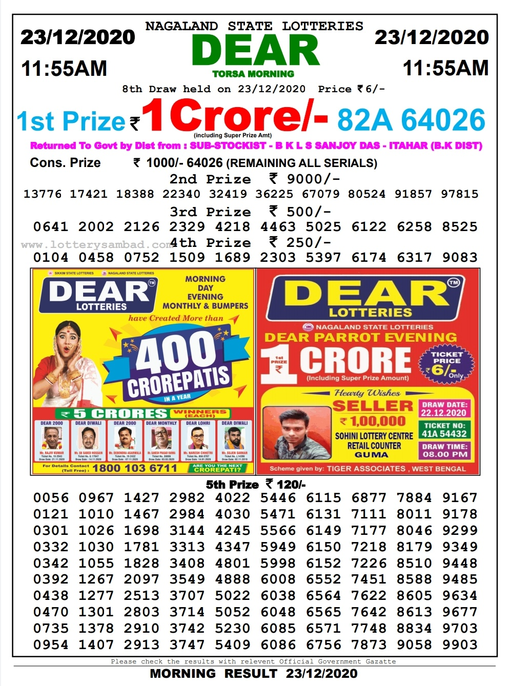 dear lottery result today morning 11:55 live