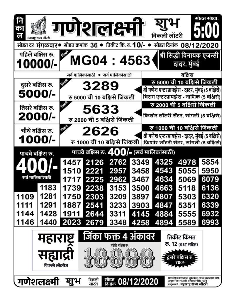 Ganesh Laxmi Lottery Result live