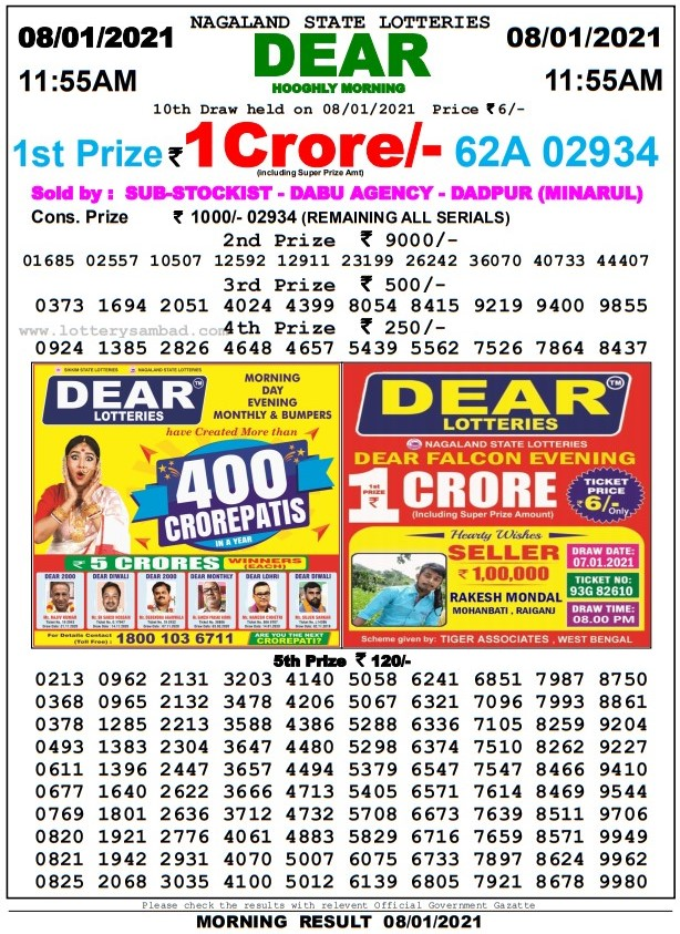 dear lottery result today 11.55 am